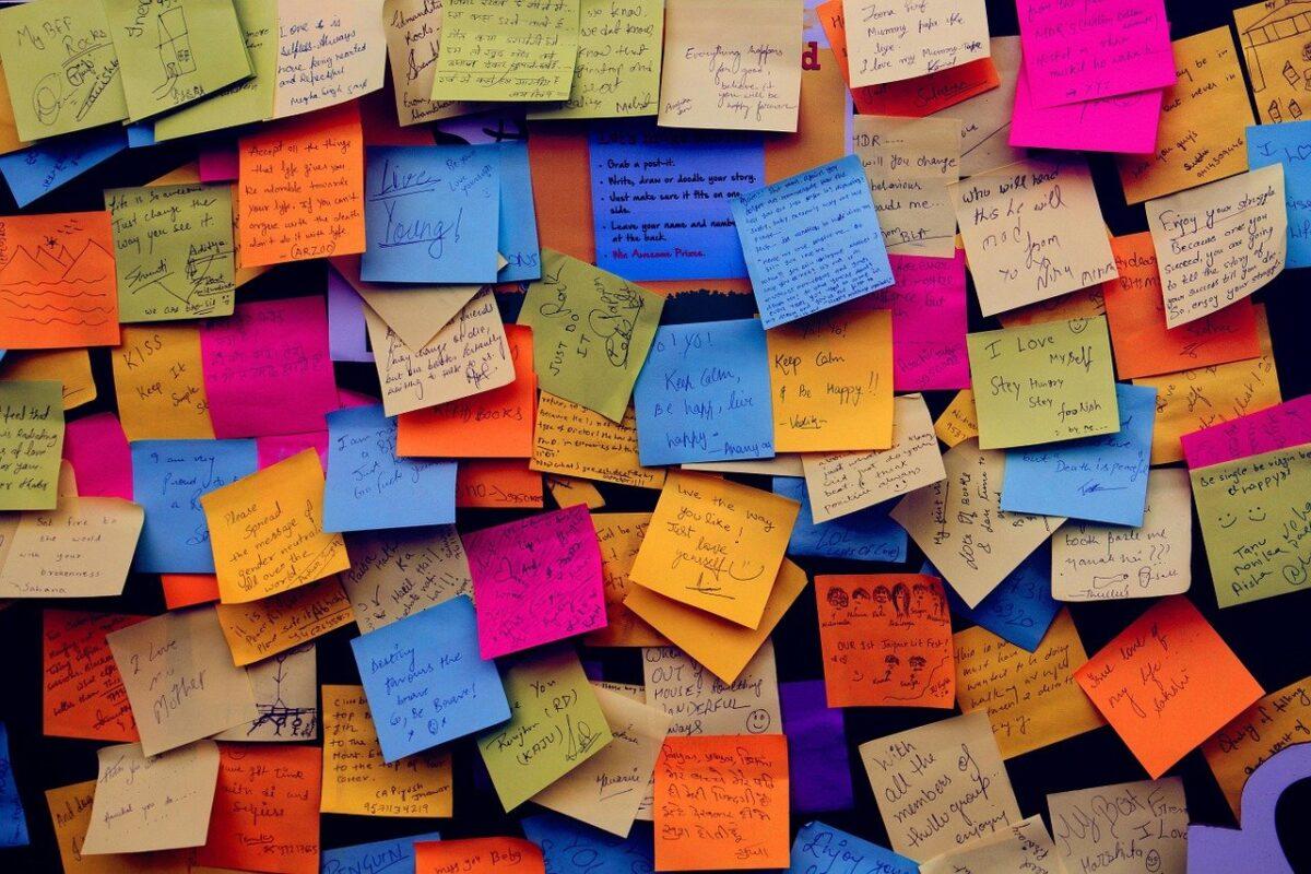 A busy noticeboard