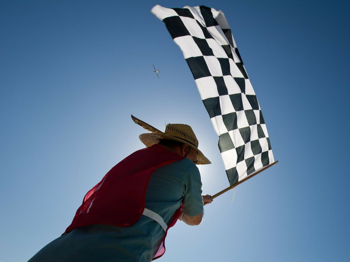 checquered flag at the finish line